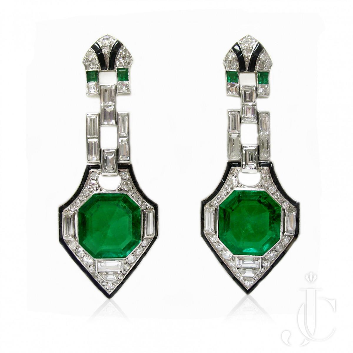 Platinum Art Deco Emerald and  Diamond Earrings