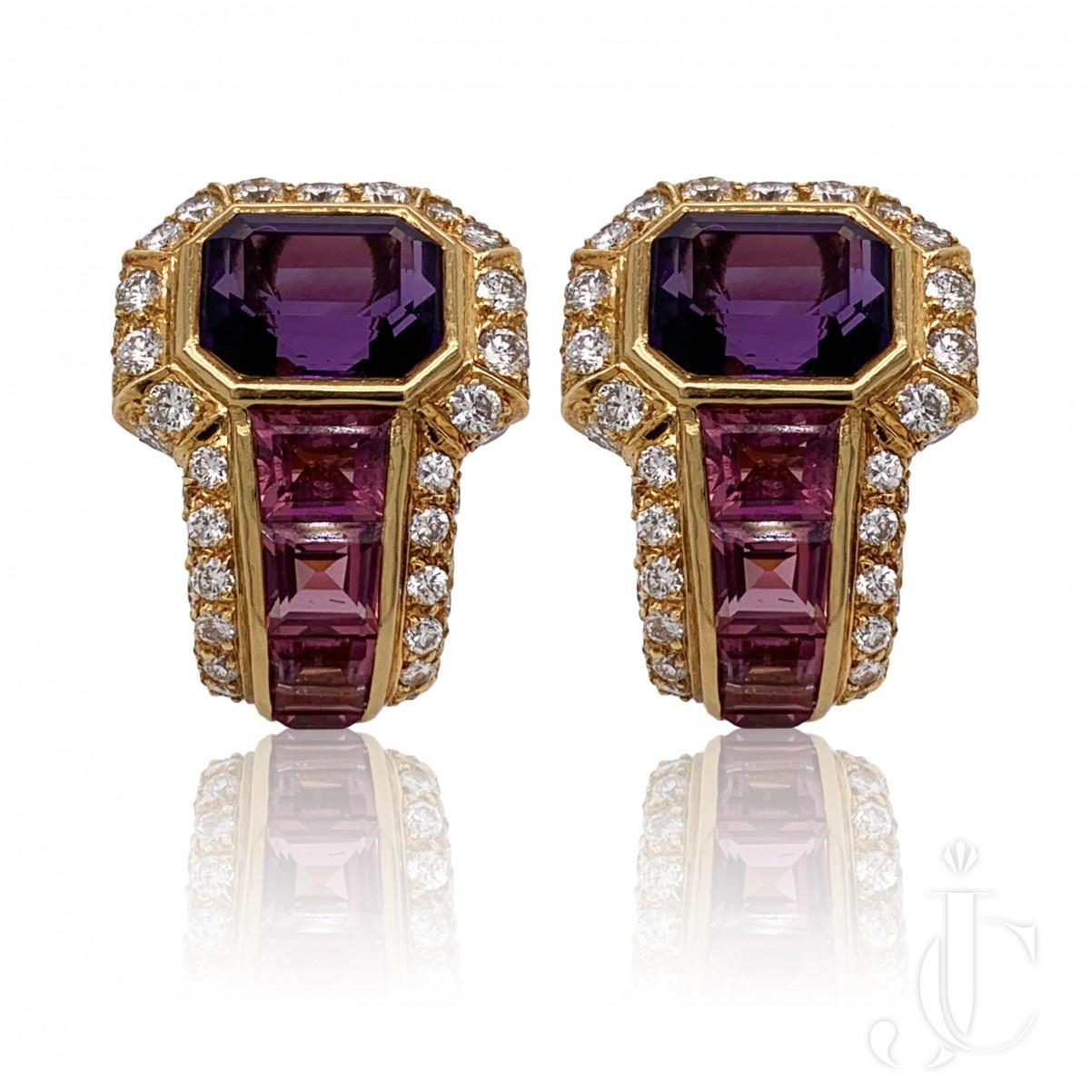 Bulgari Amethyst Tourmaline Diamond Earrings