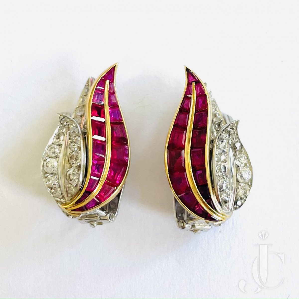 Rene Boivin Ruby Diamond Ear Clips