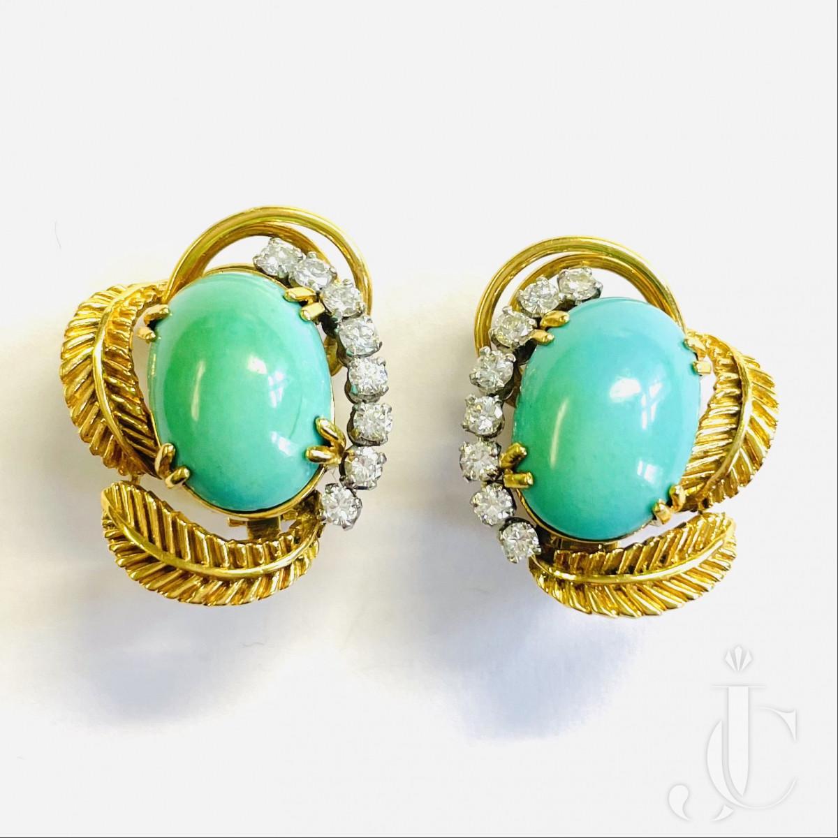 Boucheron Turquoise Ear Clips