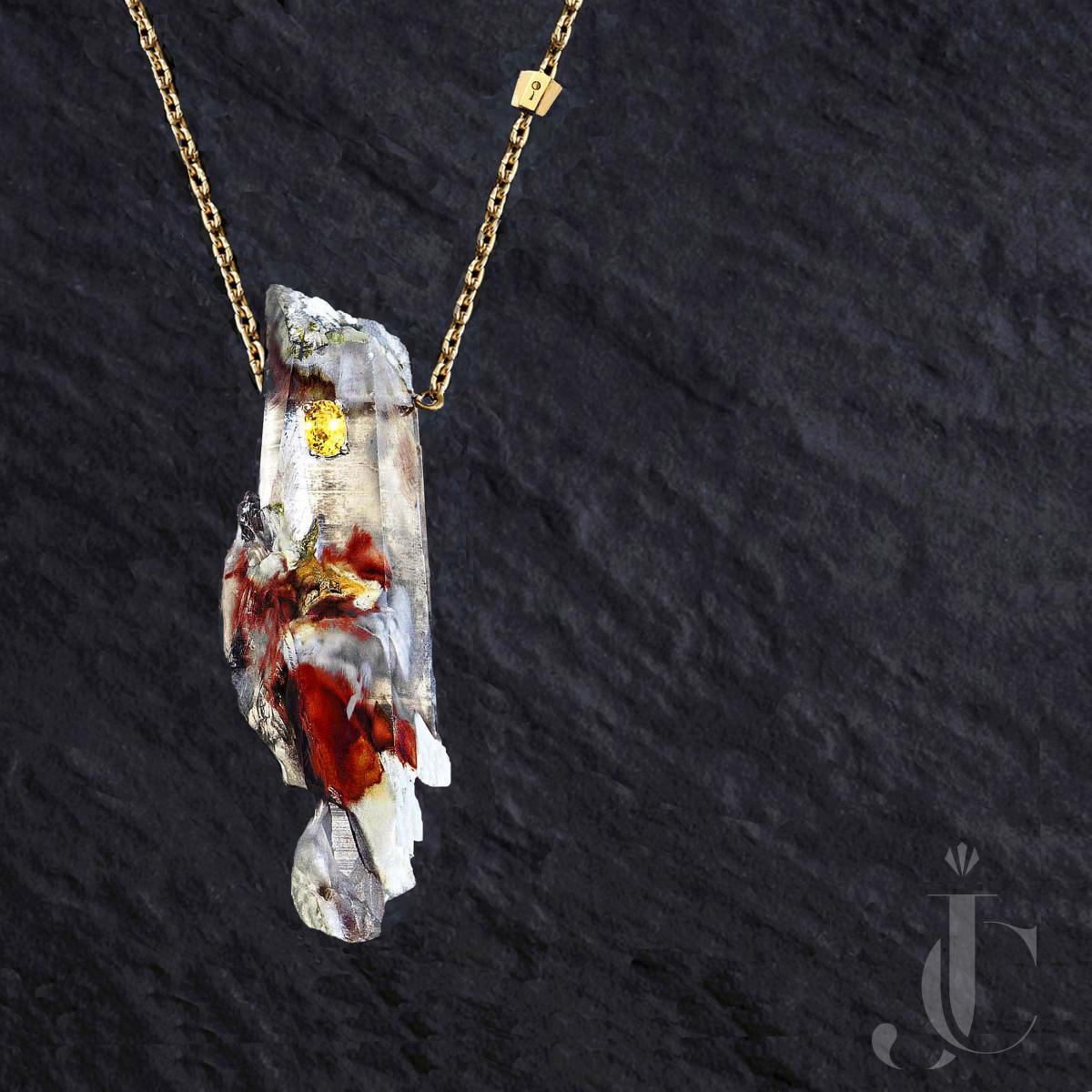 Quartz amphibolite and sapphire pendant