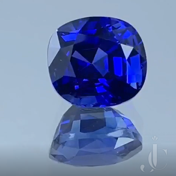 Natural cushion Ceylon Sapphire 8.08ct royal blue with DSEF lab report