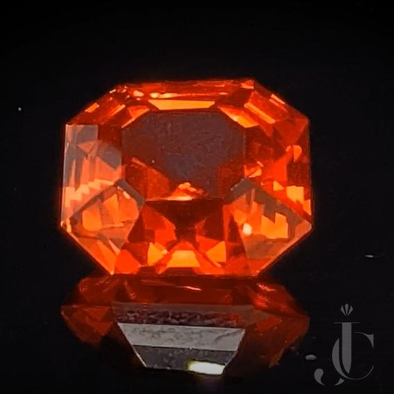 Natural octagon Ceylon Sapphire 7.55ct vivid orange with DSEF lab report