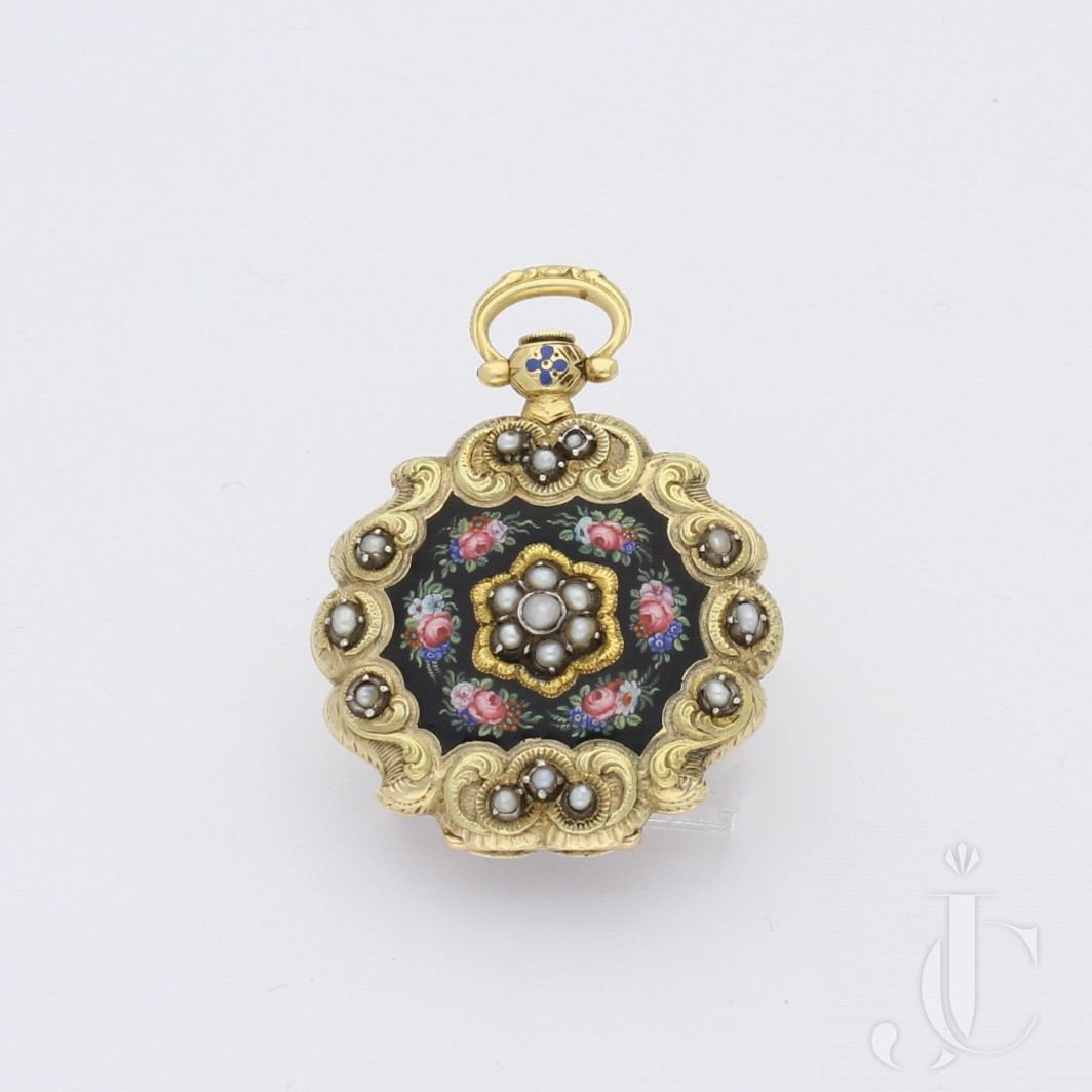 Enamel and Pear Set Fob Watch in a Scalloped Case