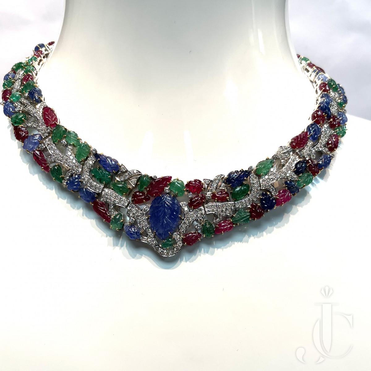 Stunning 18 KT WG Tutti Frutti Emerald Ruby Sapphire Necklace -597 carats