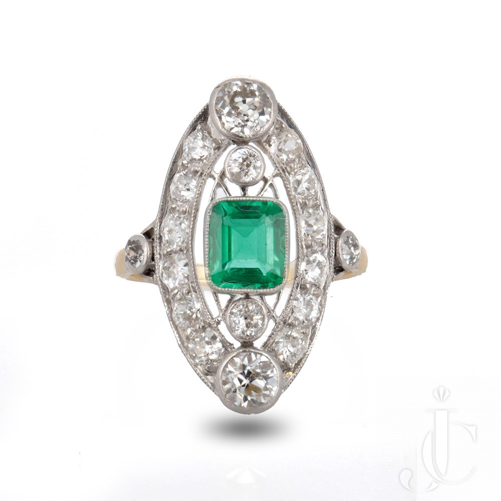 Belle Epoque Colombian (No Oil) emerald and diamond ring