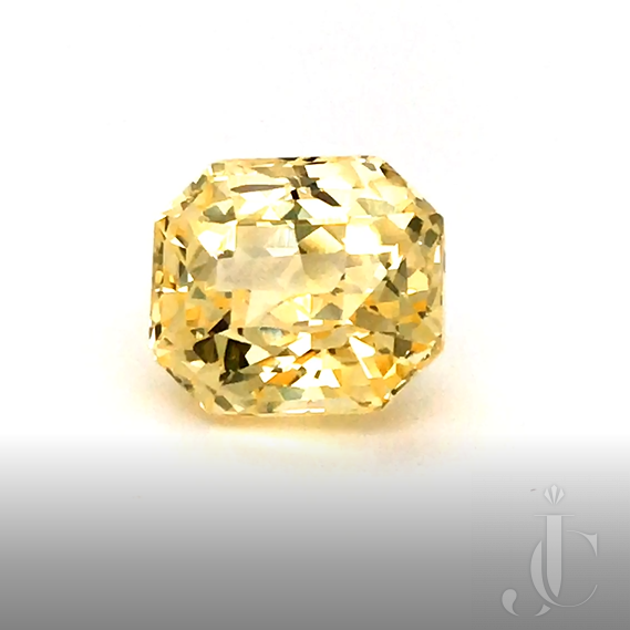 Natural no heat octagon / radiant cut Ceylon Sapphire 18.19ct yellow with DSEF lab report