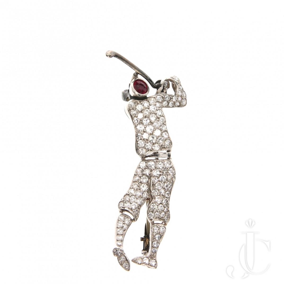 Art Deco Golfer Brooch
