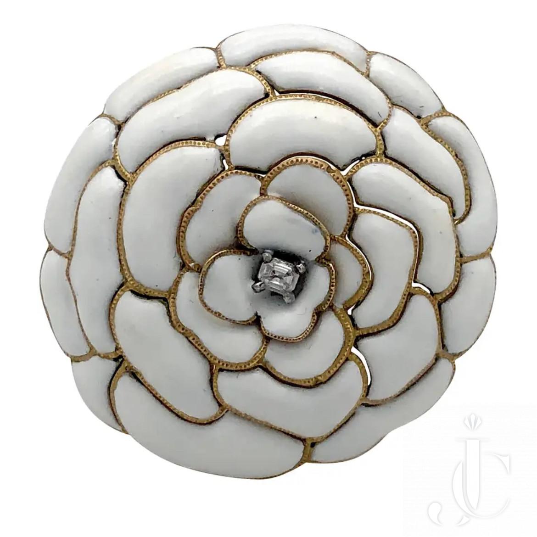 CARTIER PARIS DEPOSE 18 Karat Gold Retro Flower White Camelia Diamond Enamel Dress Clip