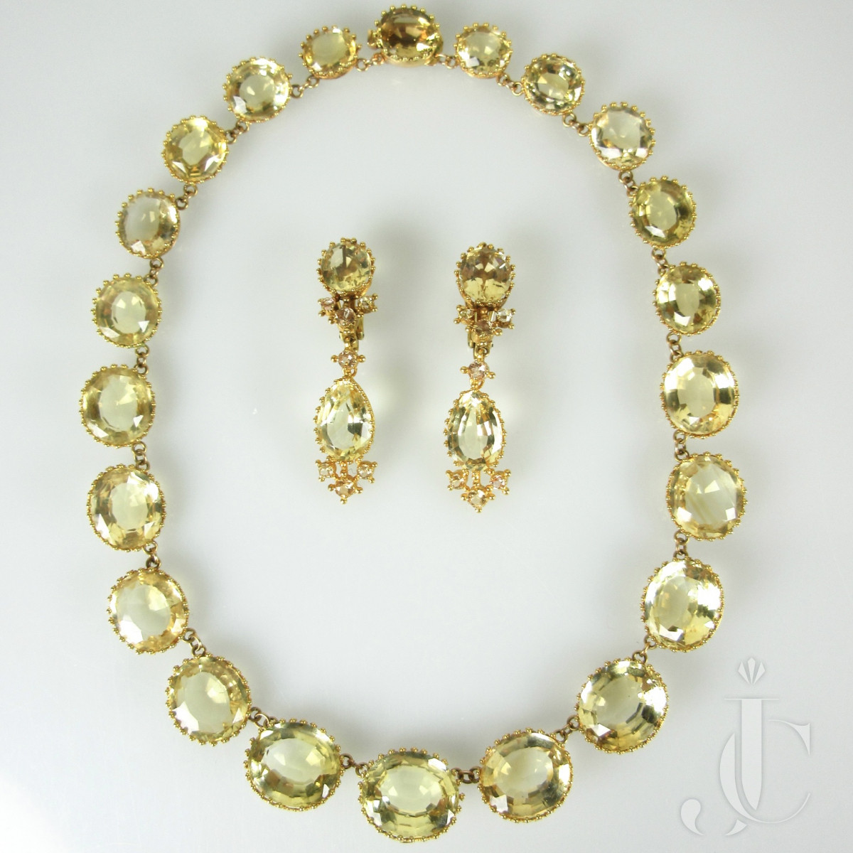 French Citrine Necklace and Earrings