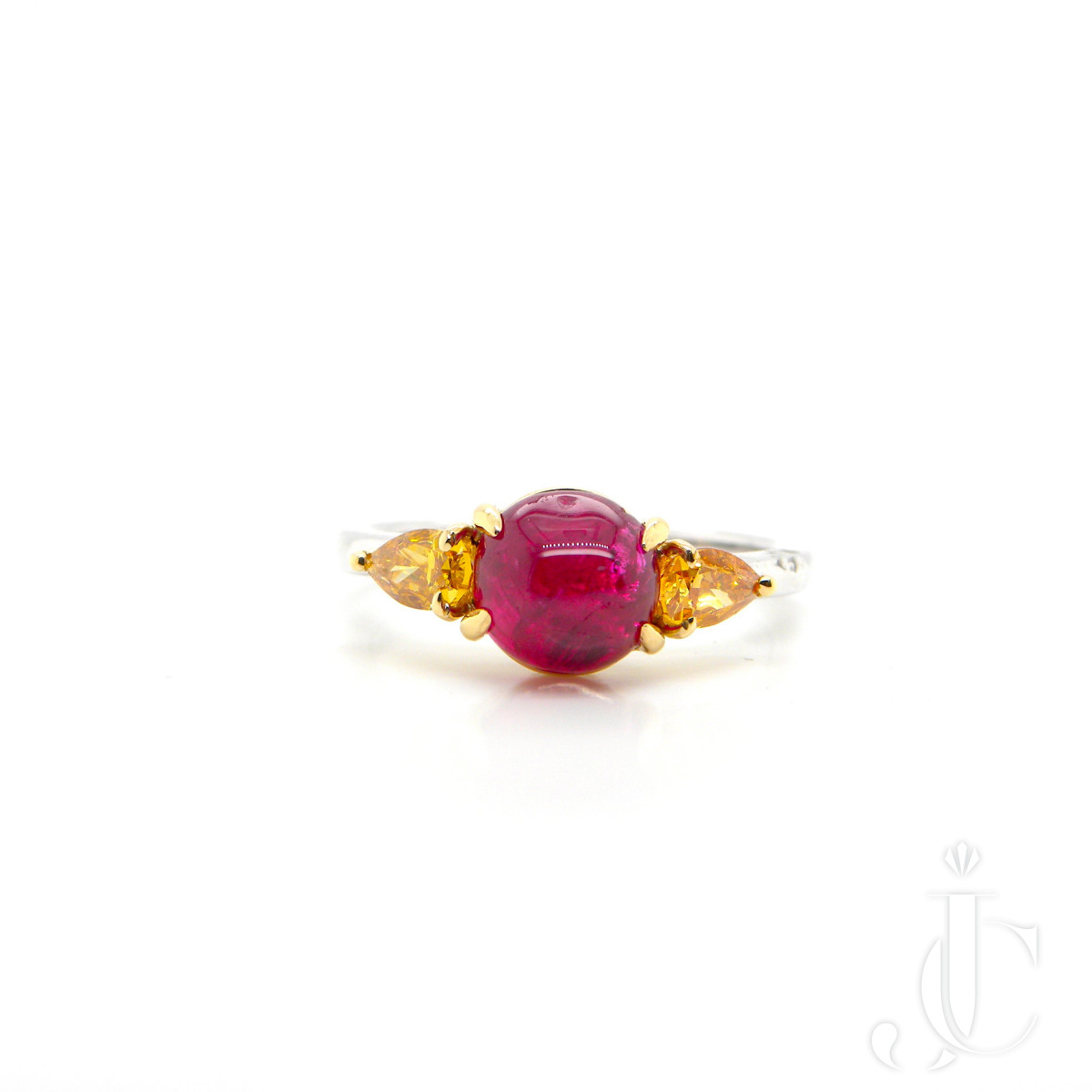2.64 Carat GRS Certified Unheated Burmese Vivid Red Ruby and Orange Diamond Ring
