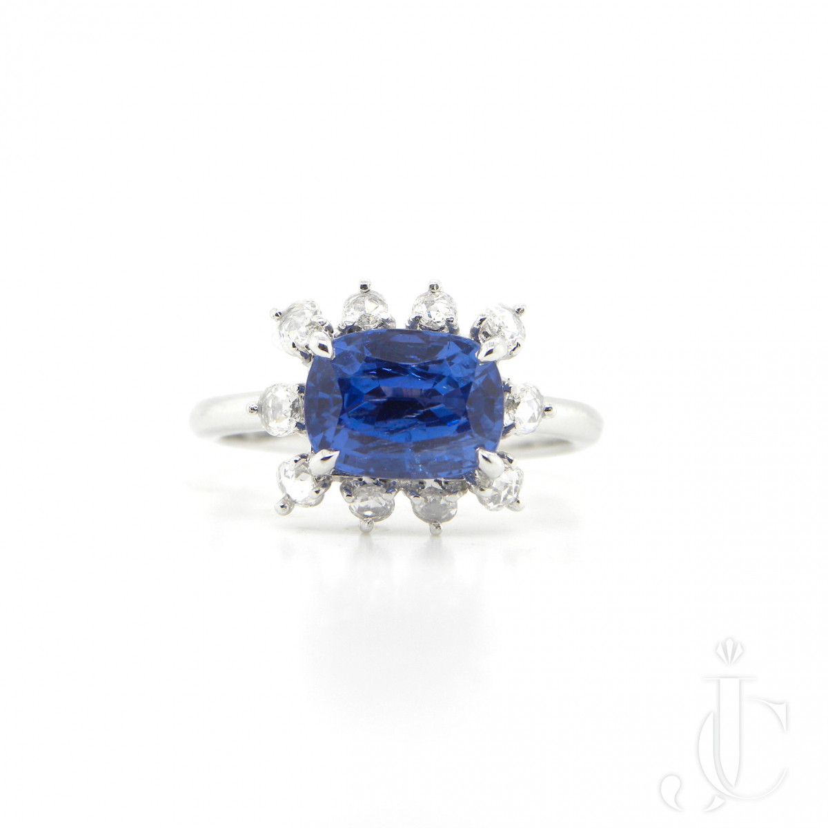 2.67 Carat GIA Certified Unheated Burmese Sapphire and White Diamond Ring