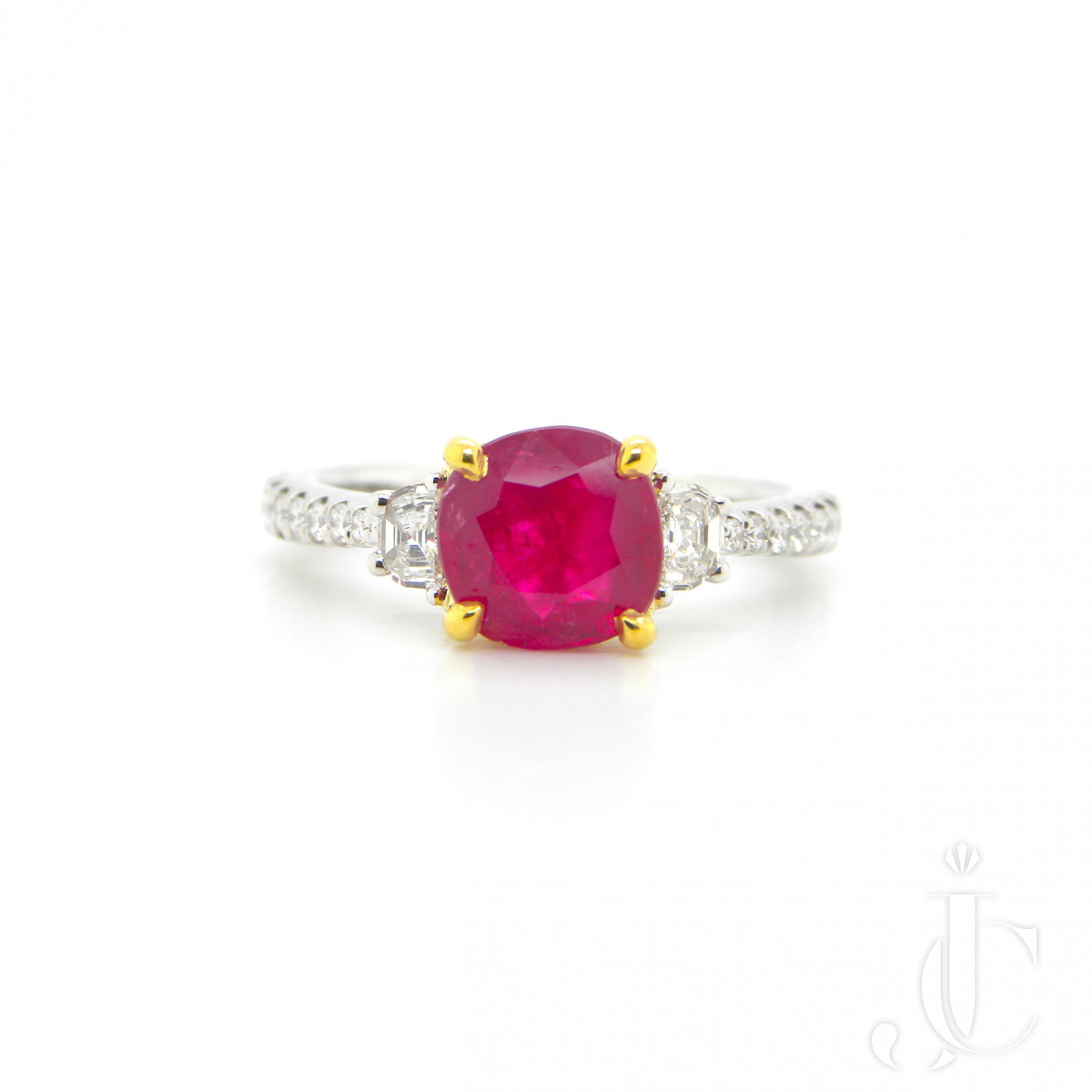 1.93 Carat GIA Certified Unheated Vivid Red Burmese Ruby and White Diamond Ring