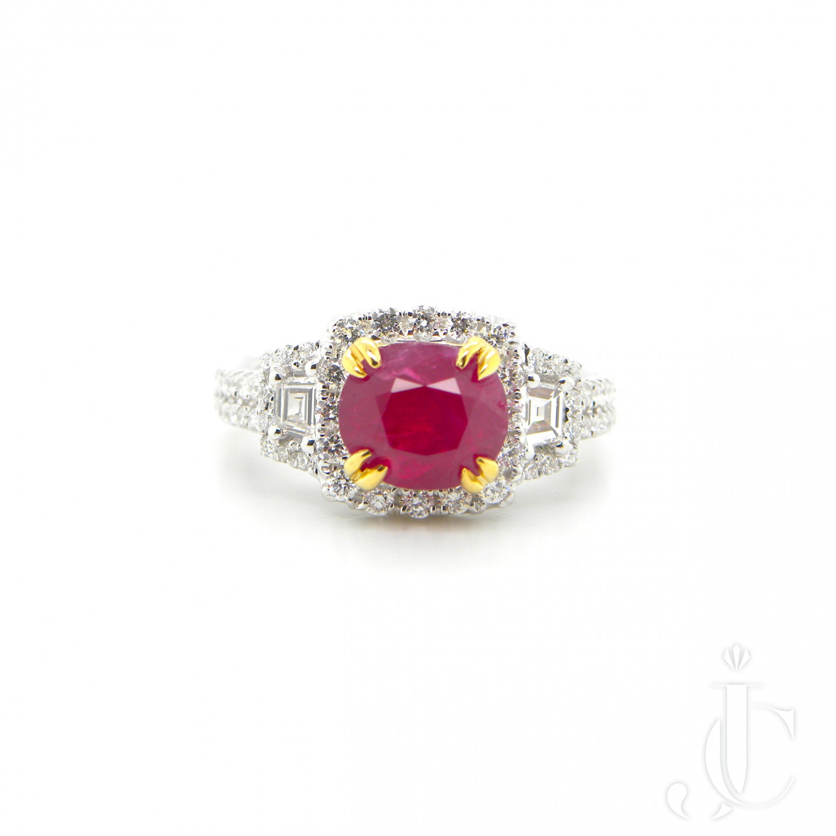 2.11 Carat GIA Certified Unheated Vivid Red Burmese Ruby and Diamond Ring