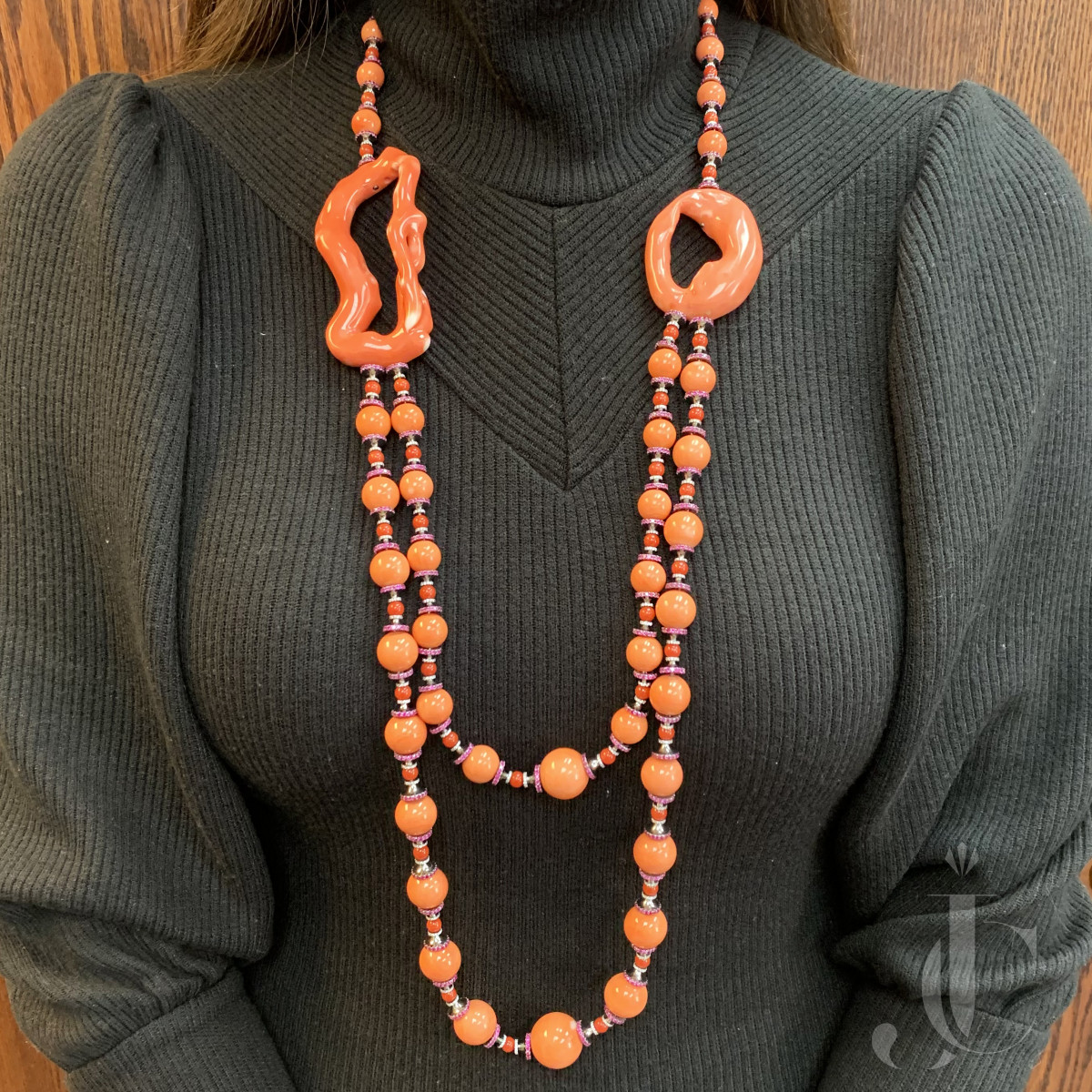 Wallace Chan Pining Beans Coral, Ruby and Diamond Necklace one of a kind
