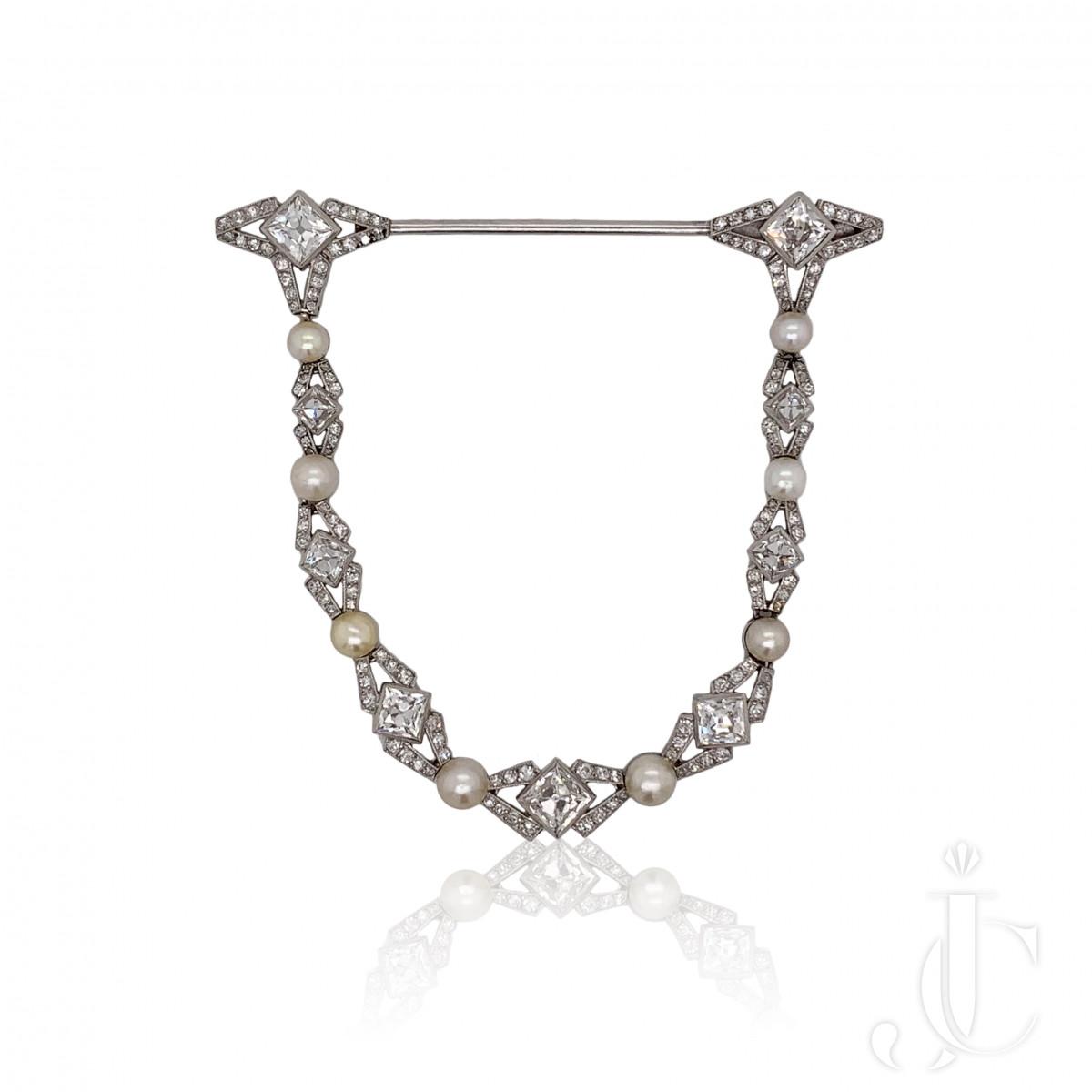 Edwardian French Platinum Natural Pearl Diamond Jabot/Pin
