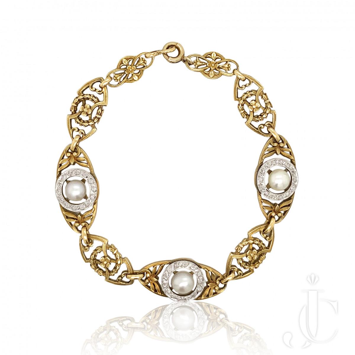Art Nouveau Natural Pearl Diamond Bracelet