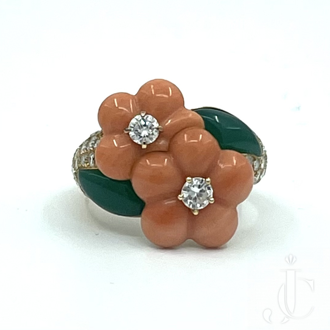 Very artistically made 18KT YG Van Cleef and Arpels Coral, Diamonds & Chrysoprase Double flower ring.
