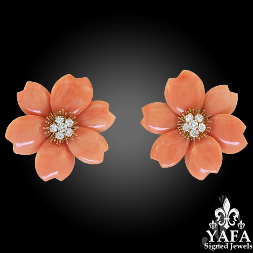 Van Cleef & Arpels Diamond, Coral Flower Earrings