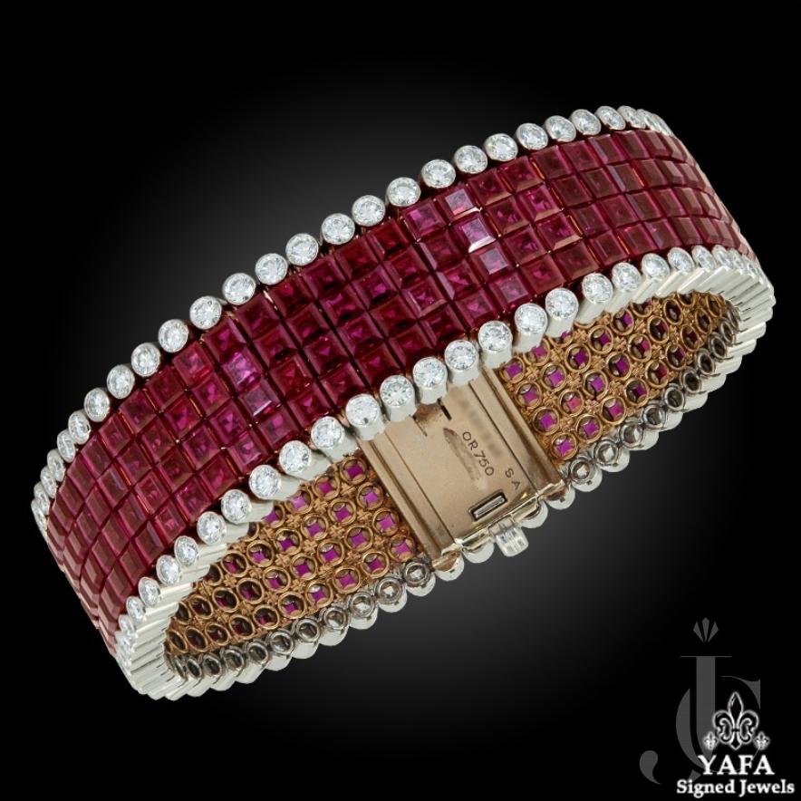 Van Cleef & Arpels Diamond Ruby Mystery-Set Bracelet
