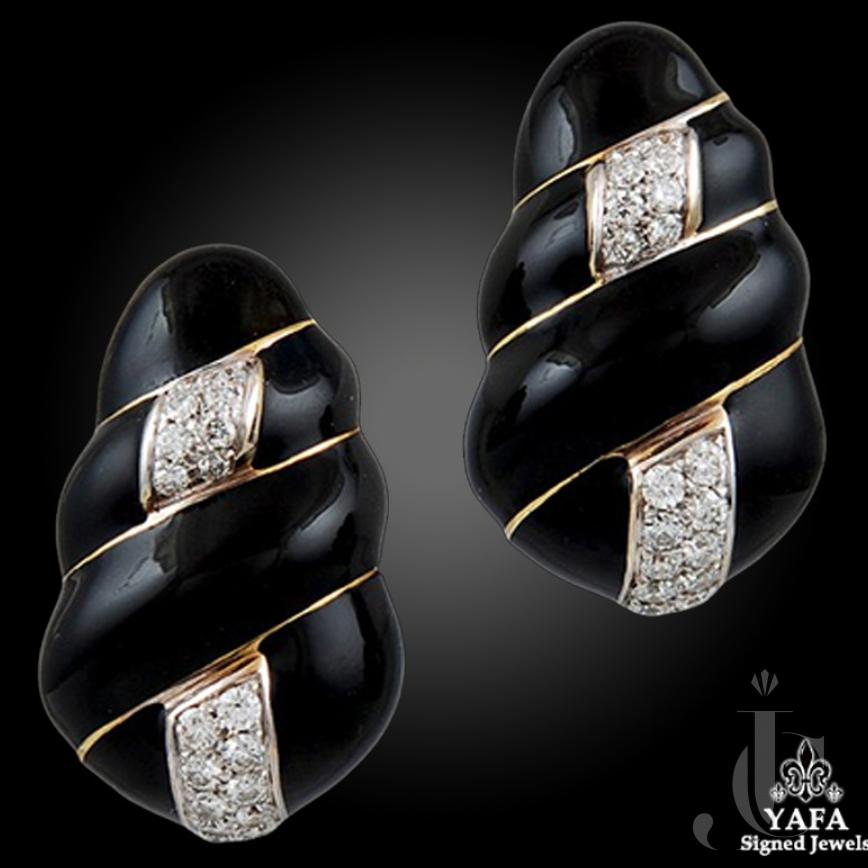 David Webb Diamond Black Enamel Earrings