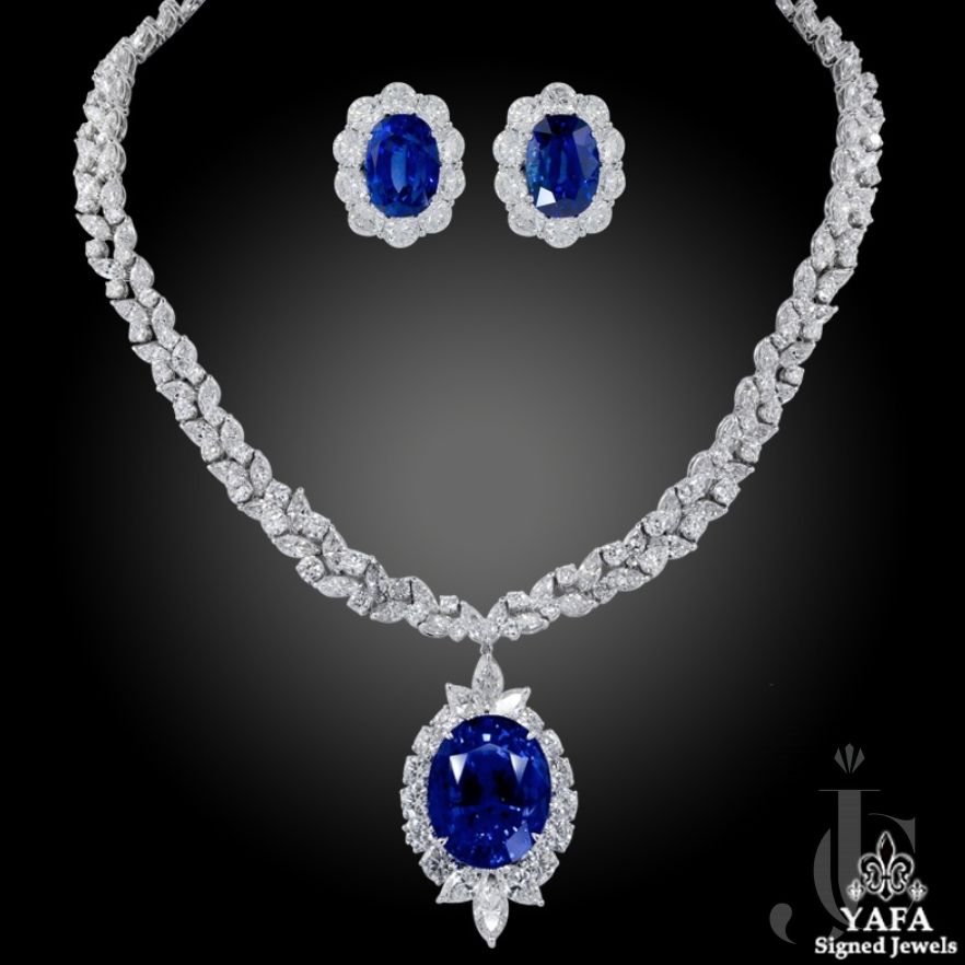 Ceylon Sapphire, Diamond Earrings and Necklace