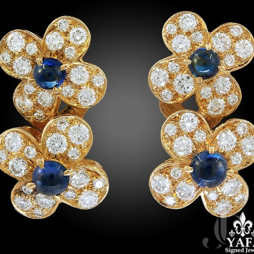 Van Cleef & Arpels Diamond, Cabochon Sapphire Earrings