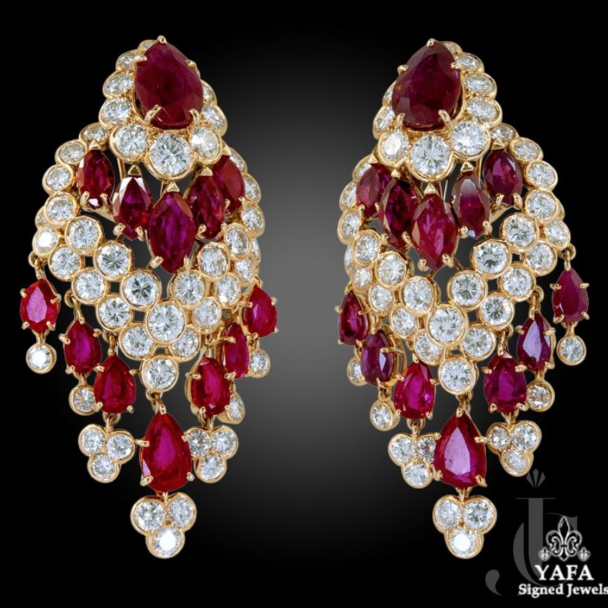 Van Cleef & Arpels Ruby, Diamond Tassel Earrings