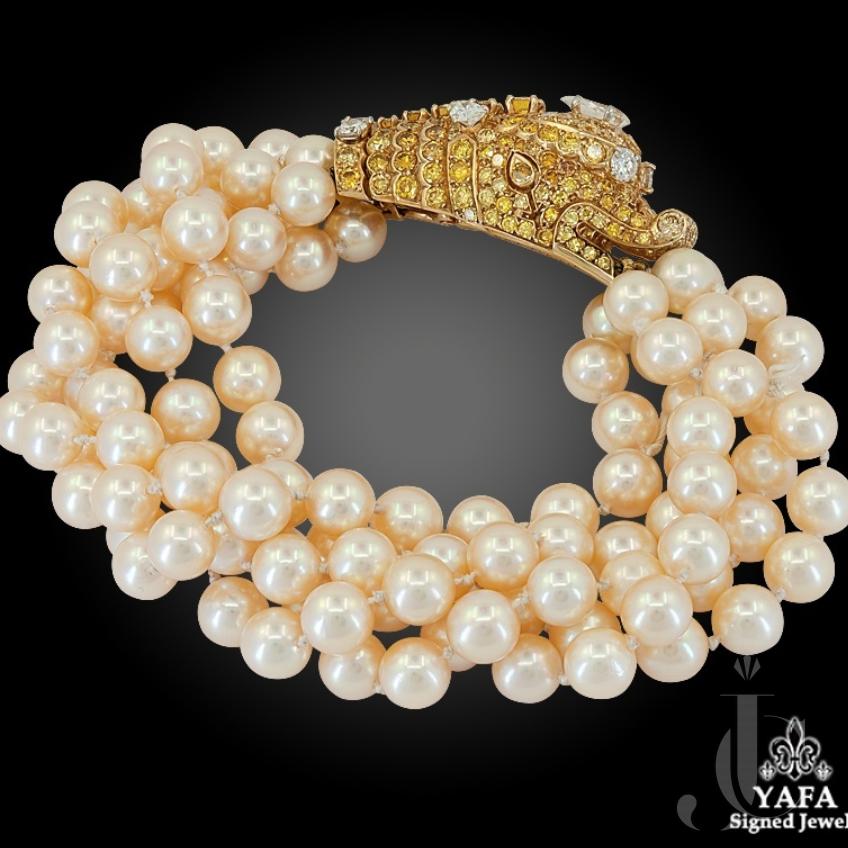Van Cleef & Arpels Diamond, Multi-Strand Pearl Bracelet