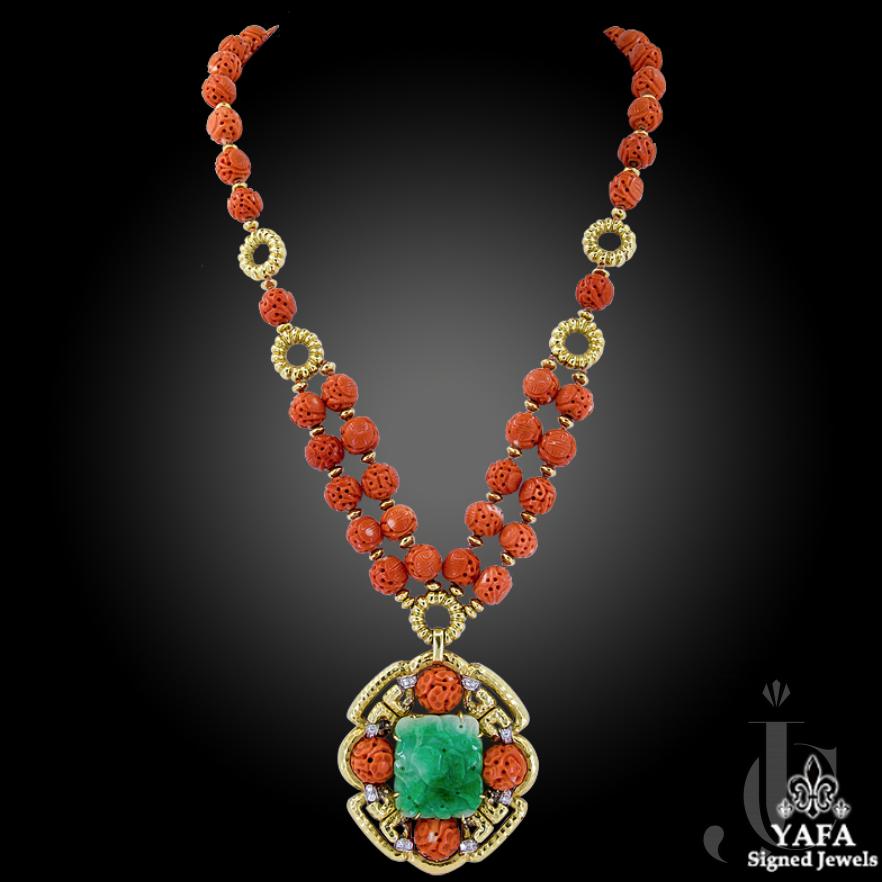 Van Cleef & Arpels Carved Coral Beads, Jade, Diamond Necklace
