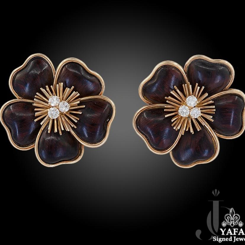 Van Cleef & Arpels Diamond Wood Clematis Earrings