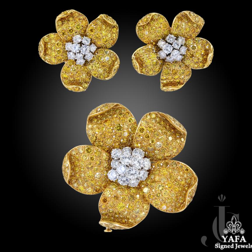 Van Cleef & Arpels Diamond Flower Earrings, Brooch