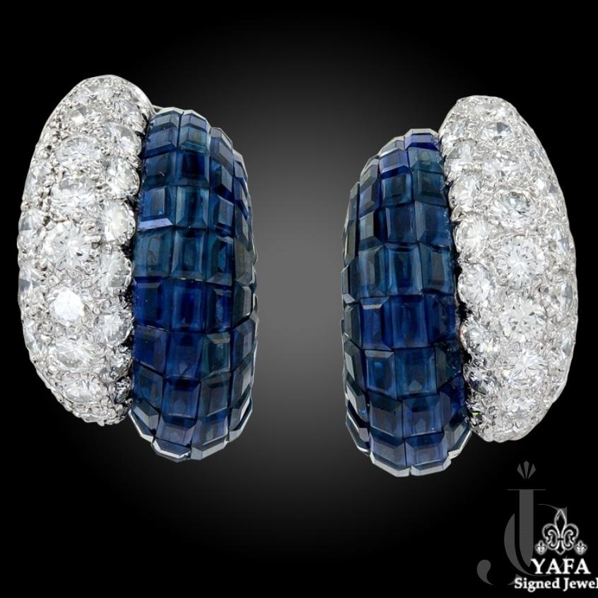 Van Cleef & Arpels Diamond, Sapphire Mystery-set Earrings