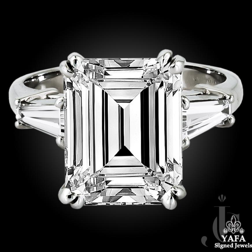 Platinum Emerald-Cut Engagement Ring