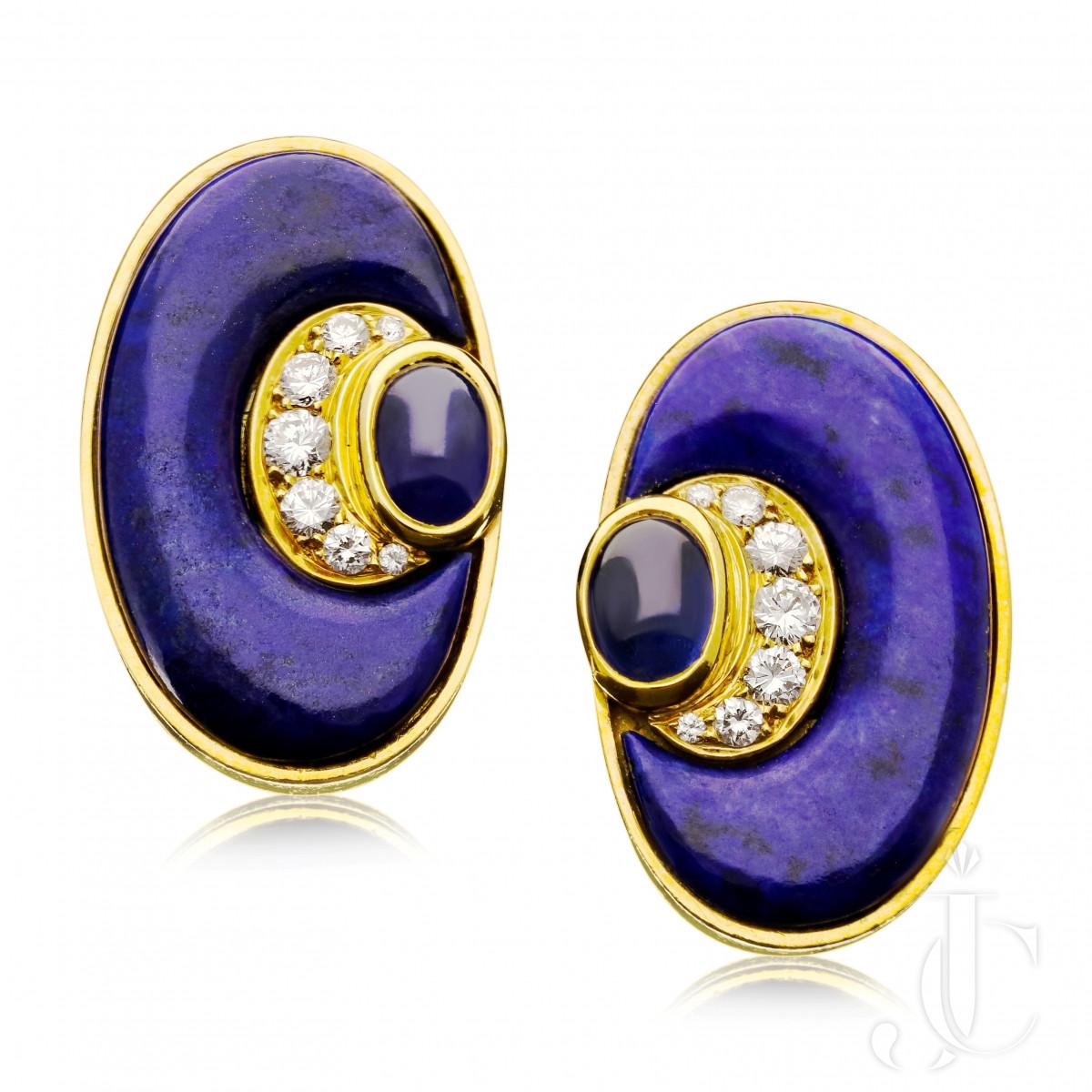 Bulgari - Lapis, Sapphire & diamond earrings c.1970s