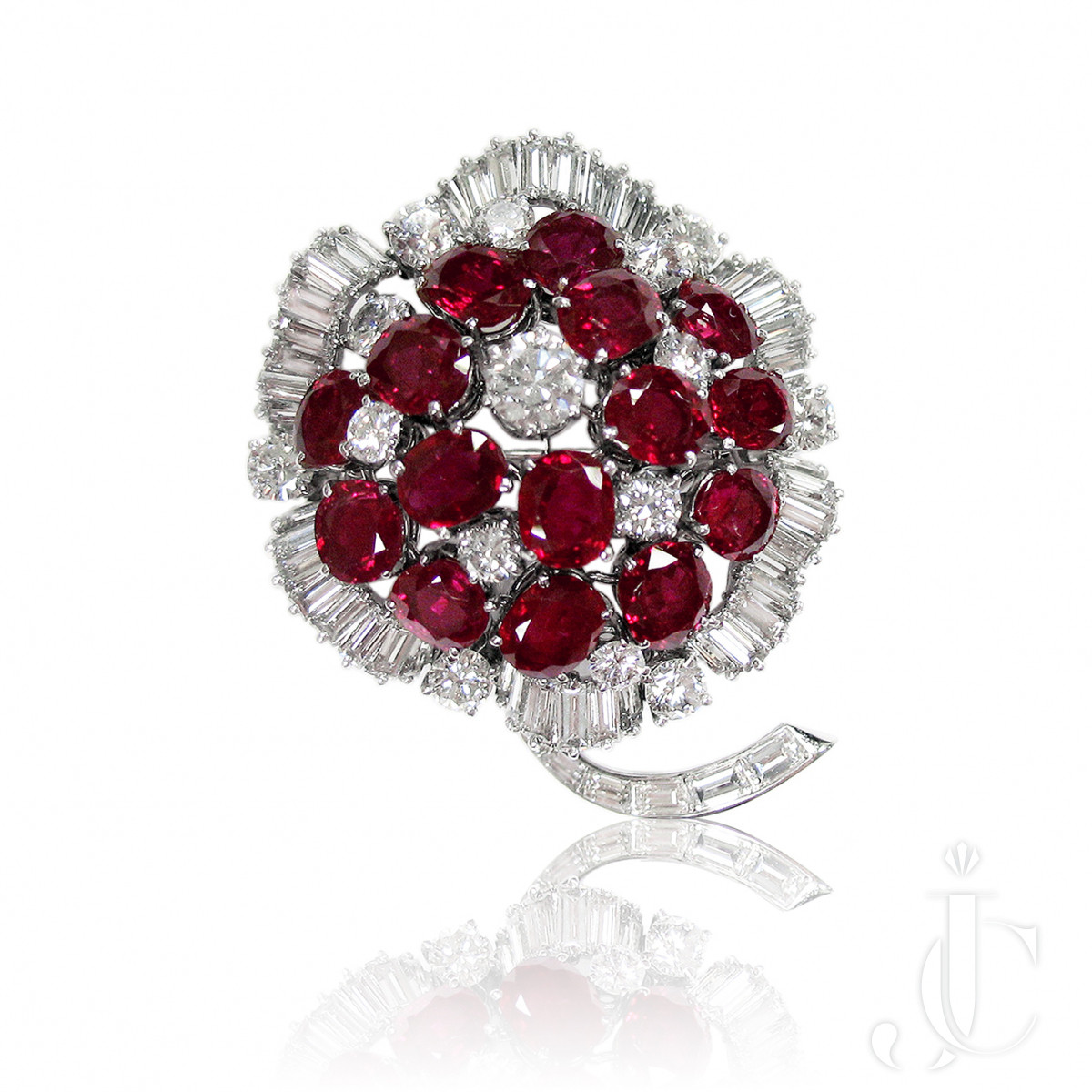 Platinum Ruby and  Diamond Flower Brooch