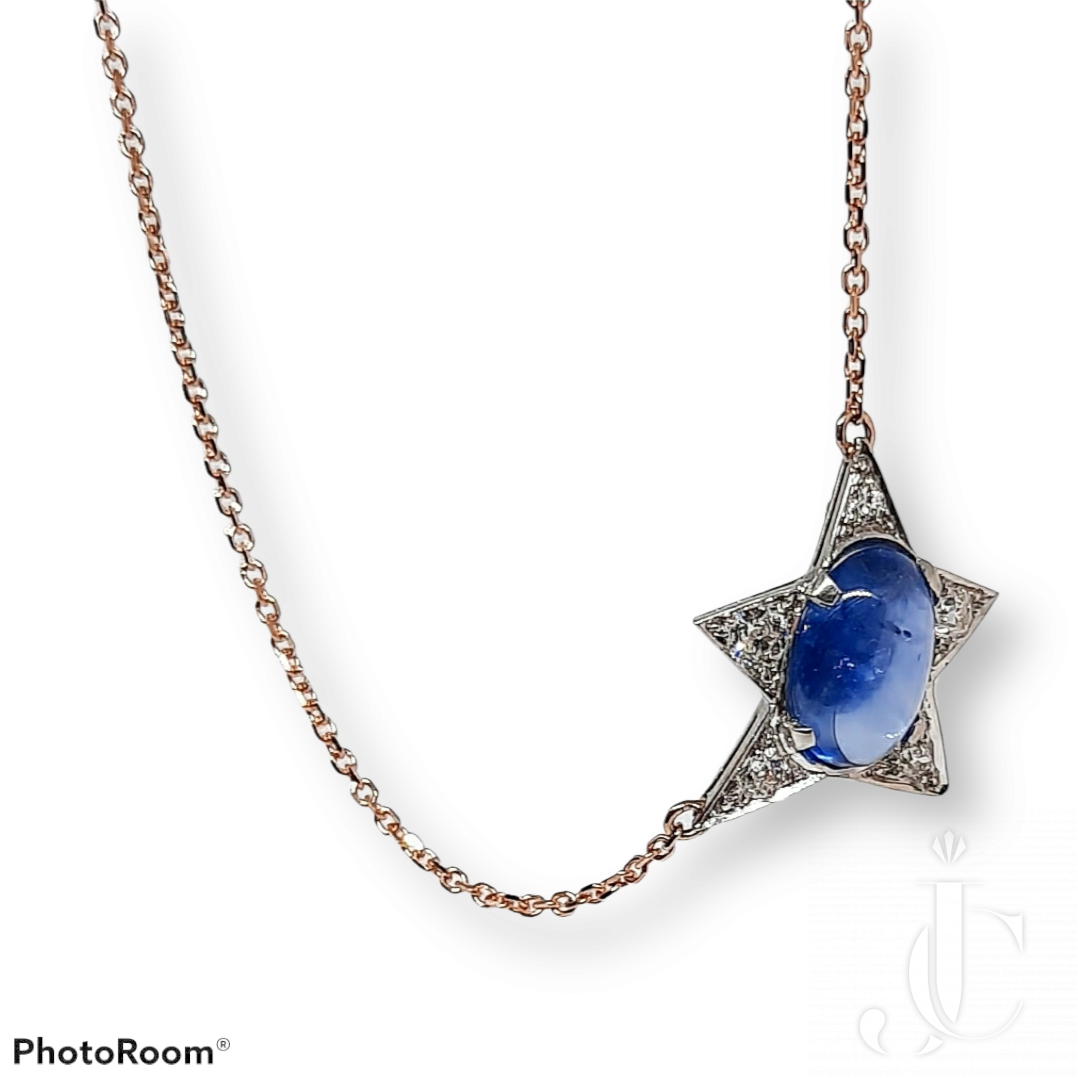 Mid century platinum, sapphire & diamond star pendant on rose gold chain necklace