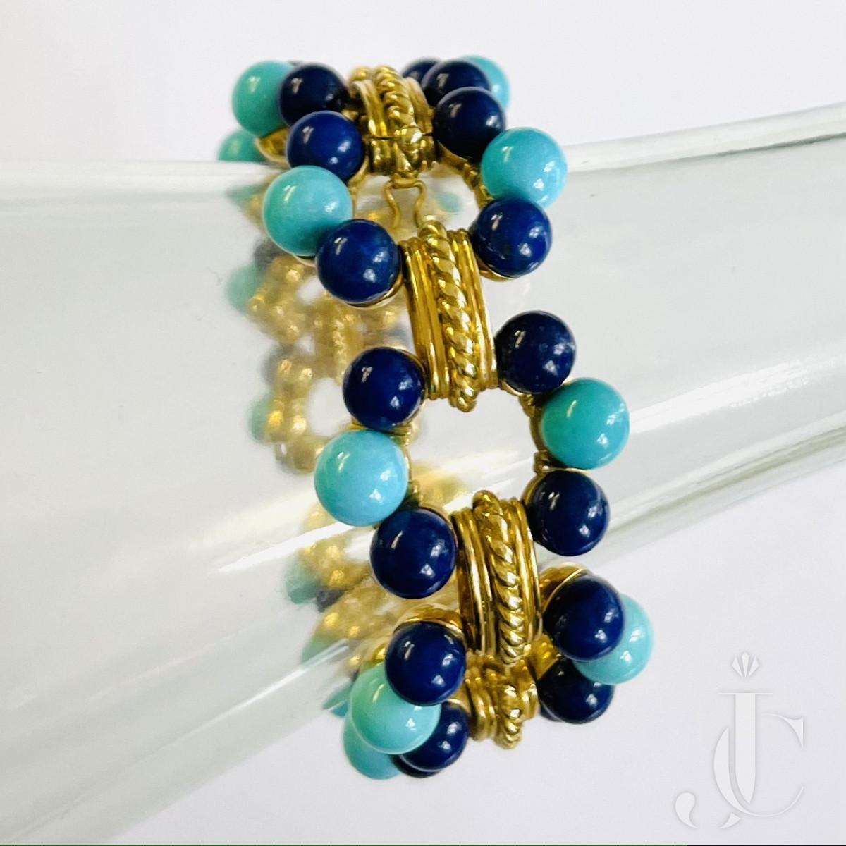 René Kern Turquoise and Lapis Bracelet