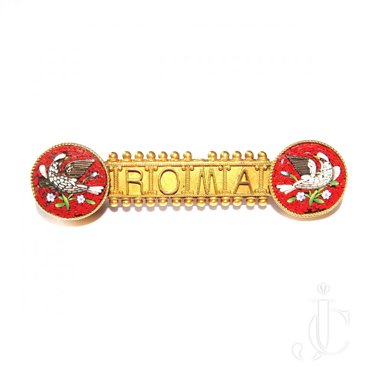 Micro mosaic ROMA Brooch