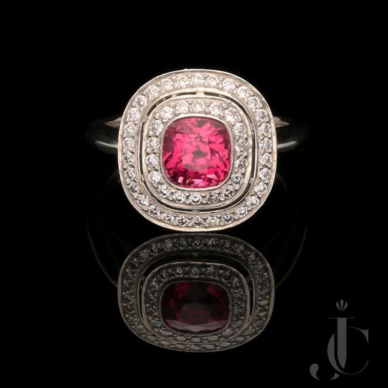 1.85ct Vibrant unheated Pink Sapphire & diamond ring