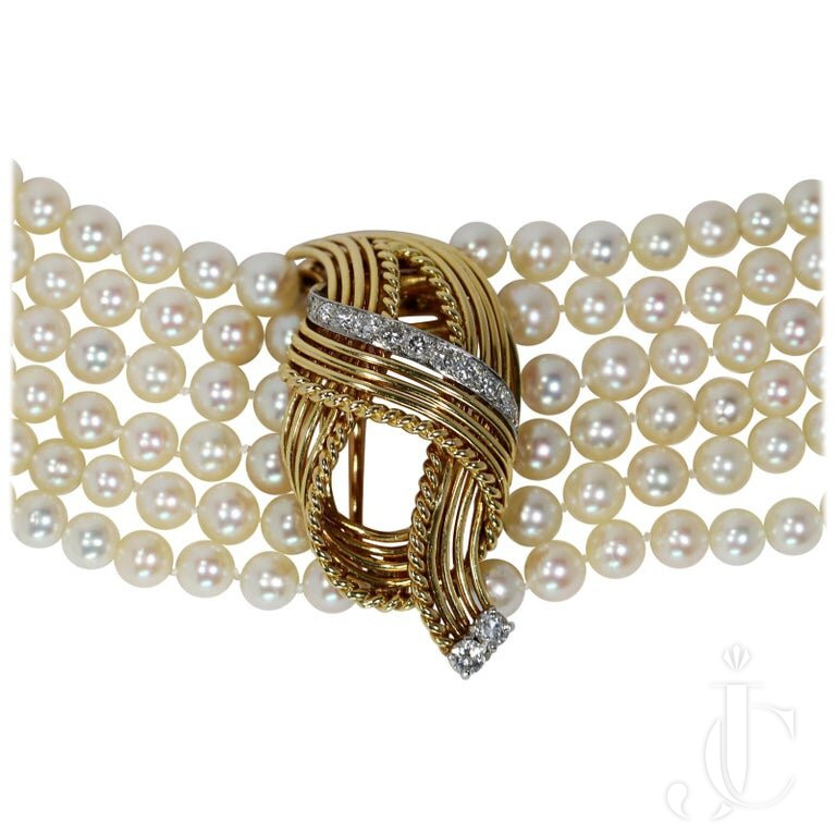 Classic French Cartier Pearl Bracelet WITH Removable Brooch AND Diamonds