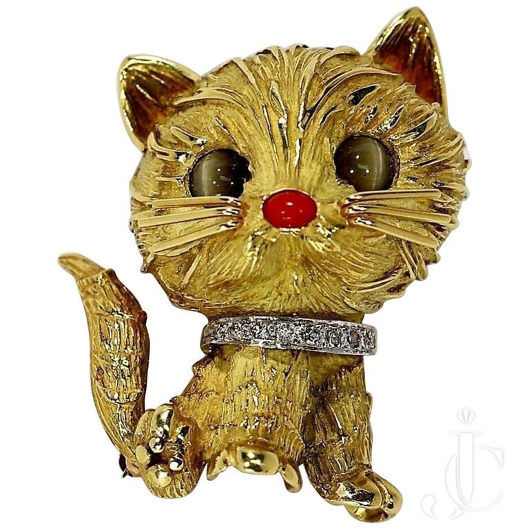 TIFFANY & CO. WHIMSICAL GOLD CAT WITH CAT