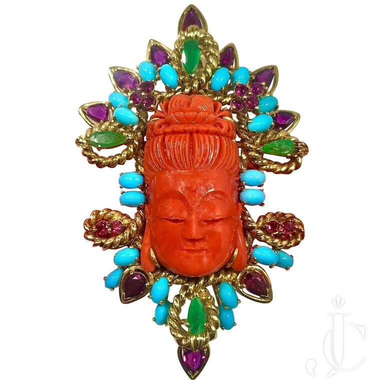 CARVED CORAL BUDDHA BROOCH OR PENDANT In YELLOW GOLD