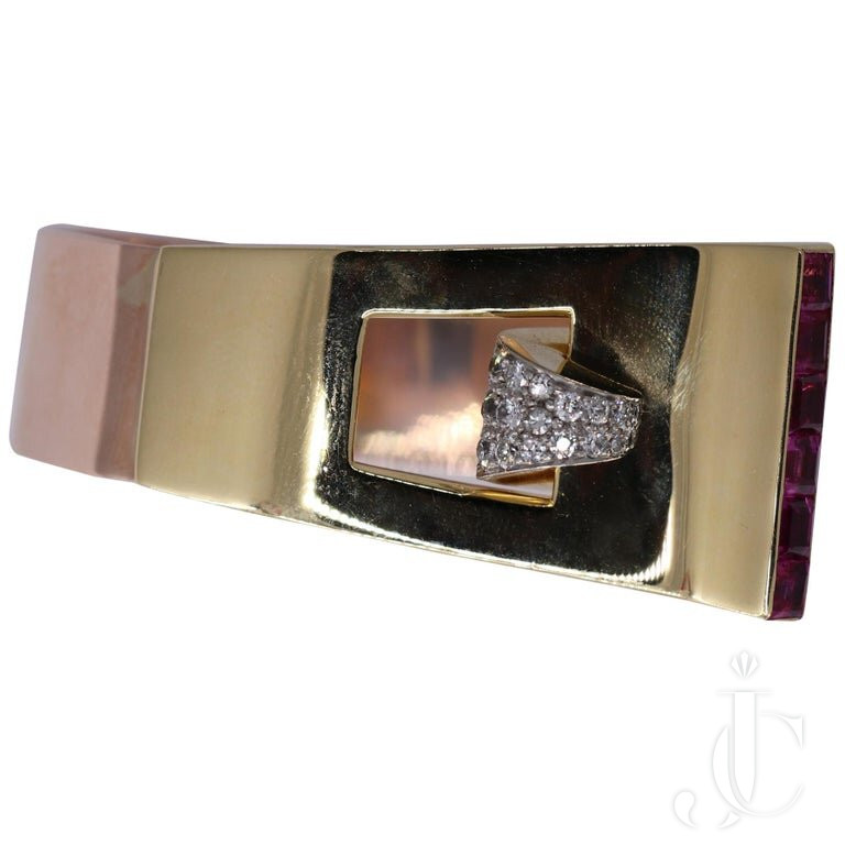 LADIES MIDCENTURY BUCKLE CUFF BRACELET With DIAMONDS AND RUBIES