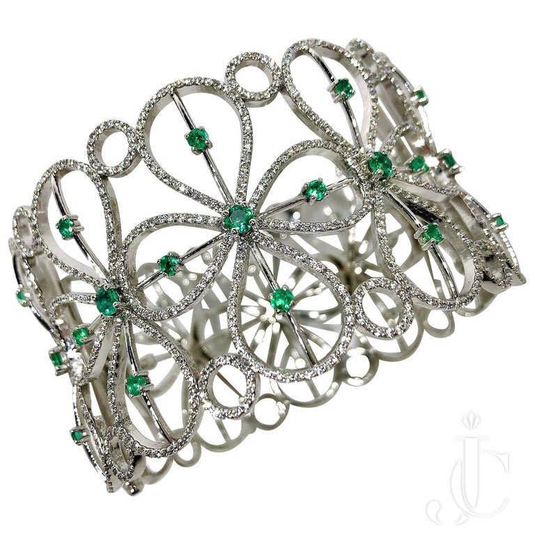 WIDE WHITE GOLD EMERALD And DIAMOND CUFF BY DESIGNER EFFY