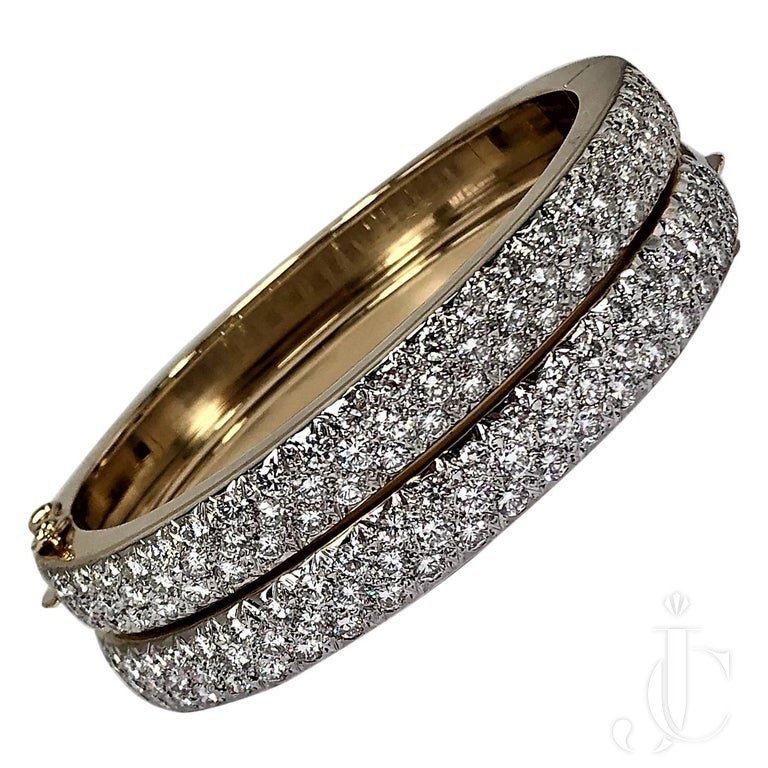 PAIR OF YELLOW GOLD And DIAMOND BANGLES