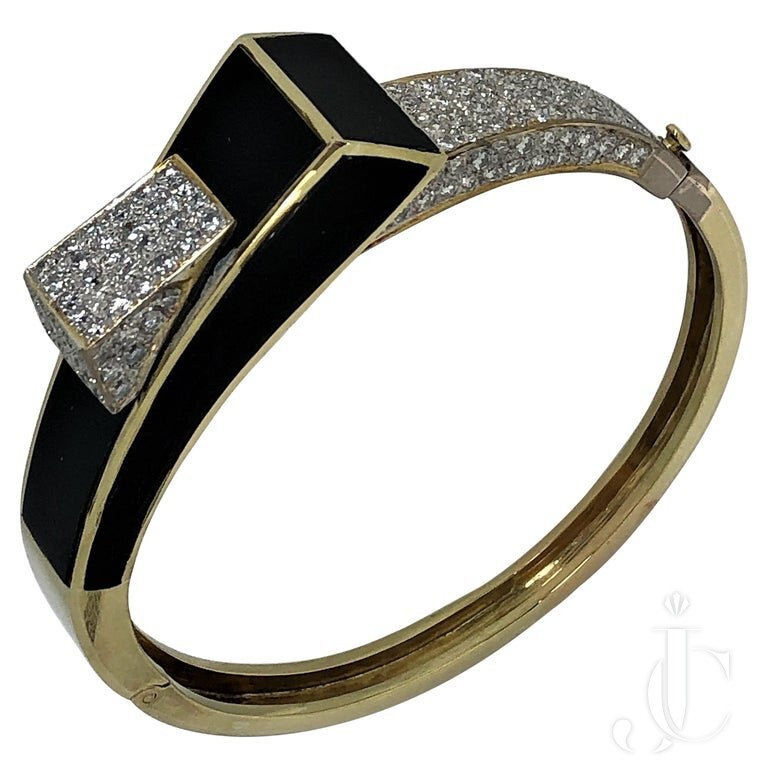 MODERNIST ONYX GOLD And DIAMOND BANGLE/CUFF