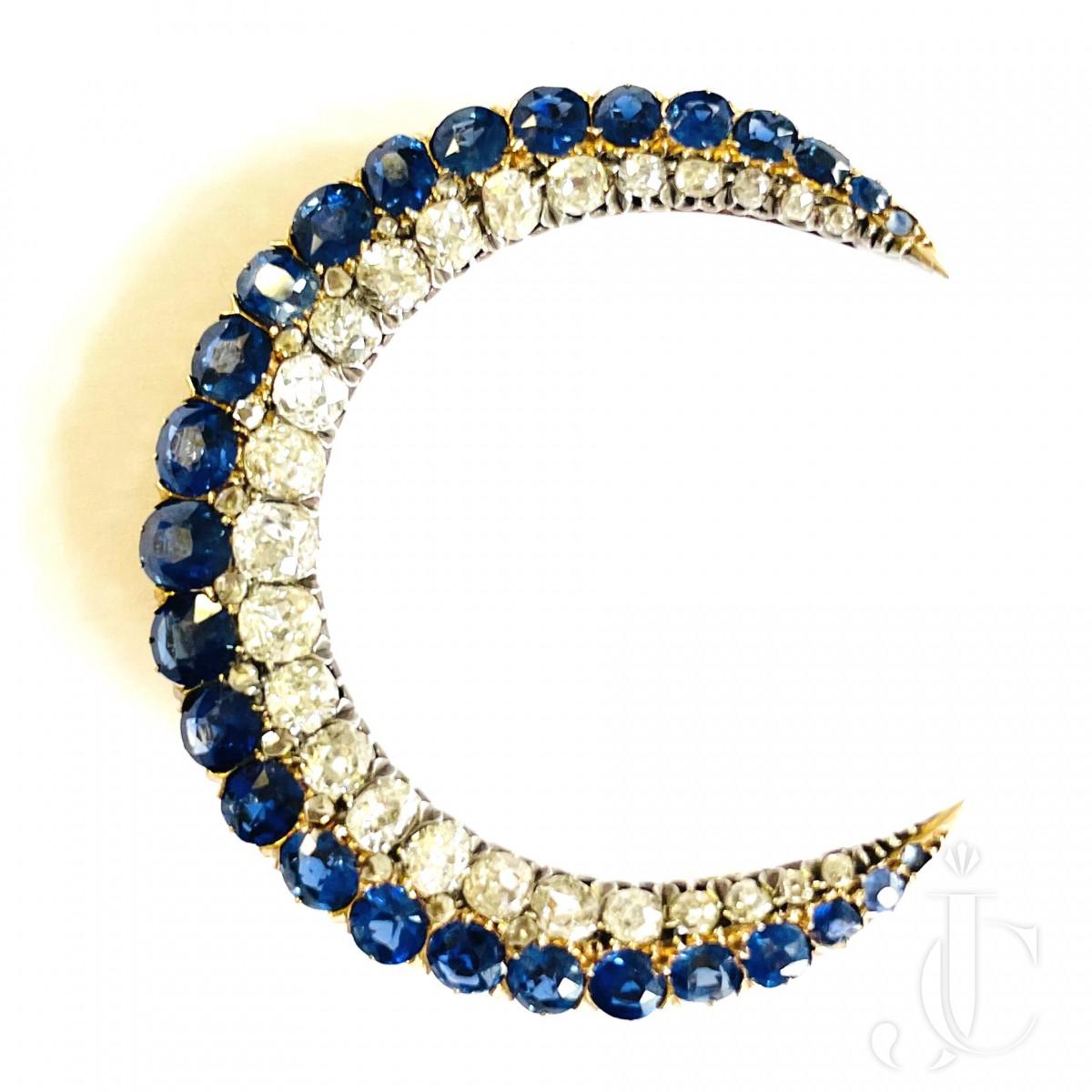 Sapphire Diamond Crescent Brooch
