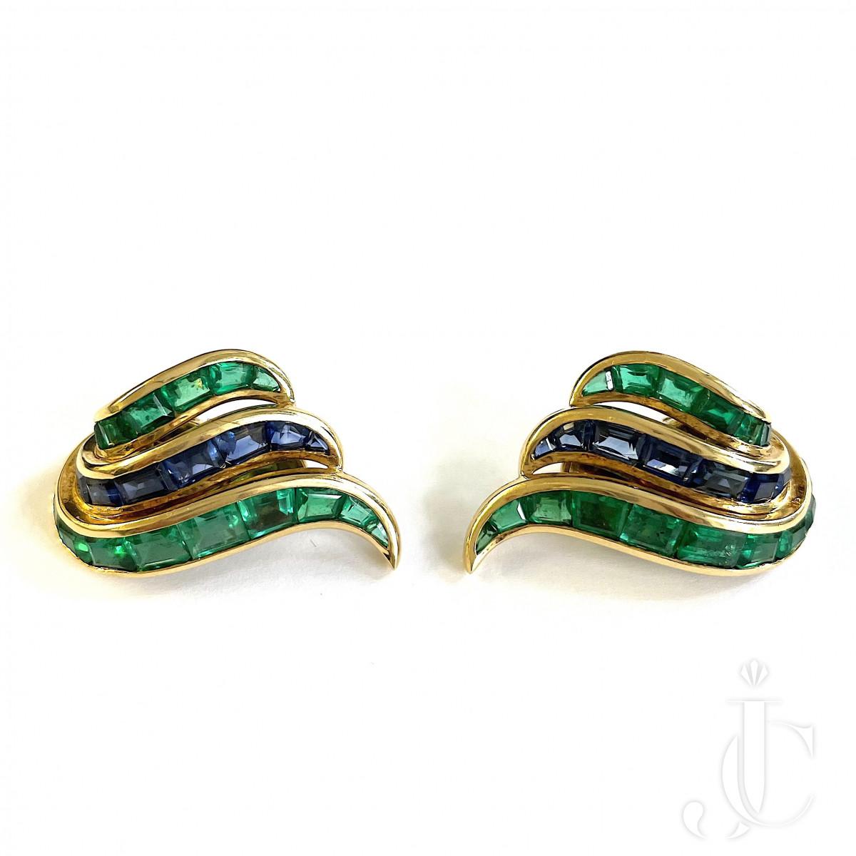 Emerald Sapphire Ear Clips
