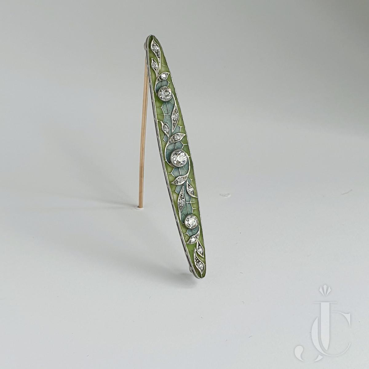 Art Nouveau , Plique-a`- Jour enamal , Brooch